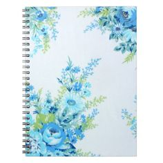Pretty Blue Vinatge Floral Notebook - retro gifts style cyo diy special idea