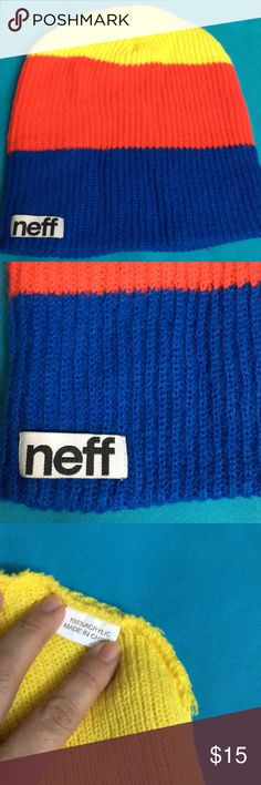 n e f f Beanie (new with out tag) size OS n e f f Beanie blue & yellow new n e f f Accessories Hats