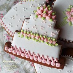 Weddin g or birthday cake cookies Svatební perníkový dortík