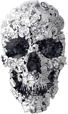 Curioos Doodle Skull by Ali Gulec (Aluminum Die Cut) Wallpaper Doodle, Skull Wallpaper, Dark Wallpaper, Skull Tattoos, Body Art Tattoos, Crayons Pastel, Skull Pictures, Skull Artwork, Arte Horror