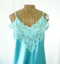 1636b571a02 Victorias Secret Aqua Long Nightgown Old by Voilavintagelingerie Nightgowns