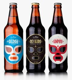 Cerveceria Sagrada Packaging for Mexican Craft Beer. Each beer is names after fictional Mexican heroes: Rey Negro (Imperial Stout), Guero Gomez (Lager) and El Hijo del Vampiro (Red Ale). Pretty Packaging, Packaging Design, Product Packaging, Design Blog, Web Design, Graphic Design, Logo Design, Design Basics, Design Da Garrafa