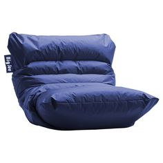 Get cozy in the game room or den with this beanbag lounger, featuring water-resistant upholstery in a sapphire hue.   Product: L...