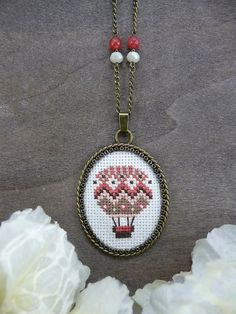 Coral Pink Hot Air Balloon Cross Stitch Necklace, Embroidered Necklace, Textile Jewelry, Cross Stitch Jewelry, Embroidery Pendant Necklace