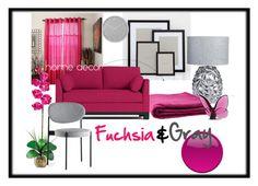 Fuchsia&Gray by agafrompoland on Polyvore featuring interior, interiors, interior design, dom, home decor, interior decorating, JAG Zoeppritz, Portsmouth Home, Zara Home and Umbra