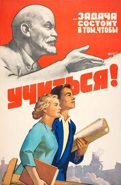 Original Vintage Soviet Education Propaganda Poster The Task Is To Study, Lenin Communist Propaganda, Propaganda Art, Soviet Art, Soviet Union, Communism, Socialism, Fosse Commune, Socialist Realism, Realism Art