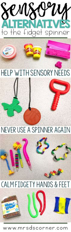 Alternatives to the fidget spinner that calm fidgety hands and feet. Help students with their sensory needs without the use of a fidget spinner. Sensory Toys For Kids, Sensory Tools, Sensory Bins, Sensory Activities, Sensory Play, Classroom Hacks, Classroom Activities, Classroom Organization, Kindergarten Literacy