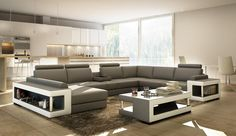 VGEV5080B-Divani Casa 5080B Beige And BrownBonded Leather Sectional Sofa w/ Coffee TableFinishing:Beige and BrownBonded LeatherDimensions:3 Seater: W83