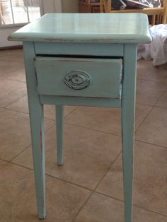 Cute little night stand. Provence with a little Old White by Annie Sloan Chalk Paint. And a little distressing. Love it!