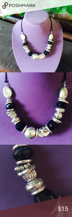 ❤️Statement Necklace!❤️  This necklace is the bomb! Big, black, and bold! Leather cord and 3 inch extender total length 20 inches.  Jewelry Necklaces