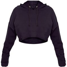 Shape Caila Black Cropped Stripe Detail Hoodie ($40) ❤ liked on Polyvore featuring tops, hoodies, cropped hooded sweatshirt, crop top, hooded pullover, sweatshirt hoodies and hoodie top