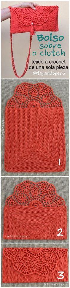 Clutch o bolso sobre tejido a crochet de una sola pieza. Video tutorial del paso a paso kleine Inspiration Crochet clutch (in only ONE PIECE! Crochet Diy, Bikini Crochet, Bag Crochet, Crochet Fabric, Crochet Handbags, Crochet Purses, Love Crochet, Crochet Crafts, Crochet Clothes