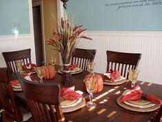 Decoración de mesas con espigas para Thanksgiving, encuentra más ideas en http://www.1001consejos.com/decoracion-de-mesas-para-thanksgiving