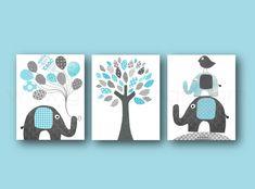 Lot de 3 illustrations pour chambre d'enfant et bebe, bleu gris, elephant, arbre : Décoration pour enfants par galerie-anais