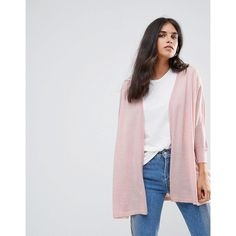 JDY Alba Open Cardigan (377.780 IDR) ❤ liked on Polyvore featuring tops, cardigans, pink, pink top, lightweight cardigan, lightweight open cardigan, pink jersey and tall cardigan