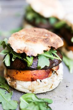Roasted Portobello and Peach Sandwiches with Basil and Blue Cheese