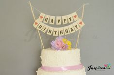 Happy Birthday Love Anniversary Cake Topper Mini Bunting Banner Topping Shabby