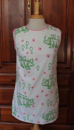 Vintage 70s The Vested Gentress Rhino & Birds Tunic Shift Mini Dress #VestedGentress