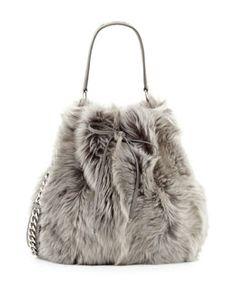 V22CM Ralph Lauren Shearling Fur Bucket Bag, Gray
