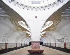 Estação Sokol do metrô de Moscou, construída em 1938.