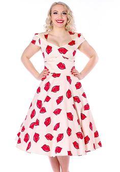 Super cute Red Lips On Cream Victory Swing dress #redlips #swingdress #dress…