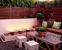 anlegen Beleuchtung Beton Holz immergrüne Pflanzen