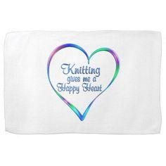 #Knitting Happy Heart Kitchen Towel - #knitting #gifts