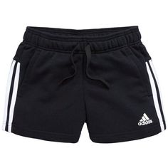 Adidas Adiads Older Girls 3S Short ($21) ❤ liked on Polyvore featuring activewear, activewear shorts, adidas, logo sportswear, adidas activewear and adidas sportswear