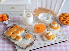 Miniature Making Peach Shortcake Set by CuteinMiniature on Etsy