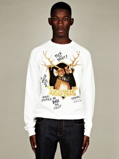 DSquared2 Men's Deer Slogan Sweatshirt in white at oki-ni
