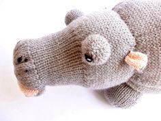 Knitted hippo, Stuffed hippo, Hippo plush from Crochetonatree by DaWanda.com