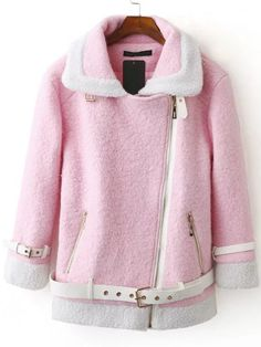 Shop Pink Contrast Trim Oblique Zipper Coat With Belt online. SheIn offers Pink Contrast Trim Oblique Zipper Coat With Belt & more to fit your fashionable needs.