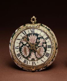 File:Josias Jolly - Enameled Watch with Flowers - Walters - Wikimedia Commons Antique Watches, Antique Clocks, Vintage Watches, Amazing Watches, Beautiful Watches, Antique Jewelry, Vintage Jewelry, Skeleton Watches, Pocket Watch Antique