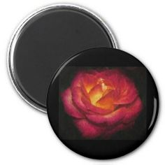 Flaming Rose Oil Painting Refrigerator Magnets by Florals by Fred #zazzle #gift #photogift