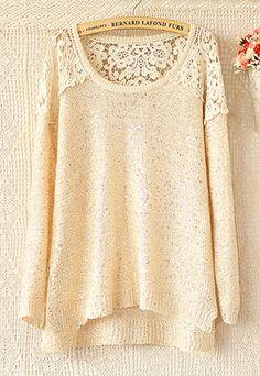 shego shopping mall — [grzxy6600133]Bling Crochet Lace Spliced Paillette Knit Sweatshirt