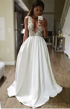 White Prom Dresses,deep V-neck Satin Long Prom Dress,sexy Lace Long Evening Gowns,grad Dresses V Neck Prom Dresses, Prom Dresses 2017, Beaded Prom Dress, Grad Dresses, Sexy Dresses, Beautiful Dresses, Formal Dresses, Wedding Dresses, Dress Prom