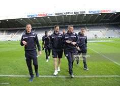 Leicesters l-r Andy King, David Nugent and Jamie Vardy before the... News Photo   Getty Images