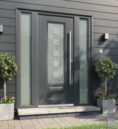The Vogue Ultimate ROCK Door with Optima glass design. Anthracite Grey external finish, Chrome furniture including bar handle and letter plate. Brown Front Doors, Front Door Steps, Best Front Doors, Modern Front Door, Front Door Entrance, House Front Door, Front Door Design, Front Door Colors, Glass Front Door