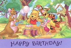 Winnie The Pooh and Friends celebrating. Birthday Jokes, Happy Birthday Kids, Magic Birthday, Kids Birthday Cards, Happy Birthday Quotes, Happy Birthday Images, Birthday Pictures, Happy Birthday Wishes, Birthday Greetings