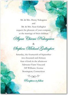 Soft Bougainvillea Watercolor Design Wedding Invitations in Purple, Green or Blue