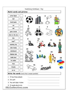 Vocabulary Matching Worksheet - TOYS worksheet - Free ESL printable worksheets made by teachers Matching Worksheets, Vocabulary Worksheets, Alphabet Worksheets, Worksheets For Kids, Printable Worksheets, Teaching English, Learn English, English Exercises, Home Learning