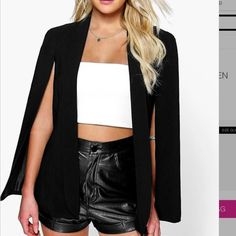 NEW Black short cape blazer New fashionable black cape fully lined perfect coverage this summer Boohoo Jackets & Coats Capes