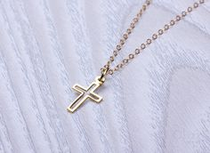 Sideways cross necklace cross necklace gold necklace