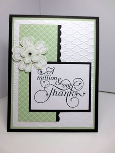 Stampin Up Thank You Card, Handmade One in A Million, Million & One, Fancy Fan Embossing Folder, Flower Shop, Petite Petals, Pistachio Pudding Green by StampinINK