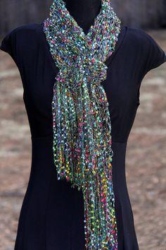 Mardi Gras Sparkling Double Strand Ribbon Yarn Scarf