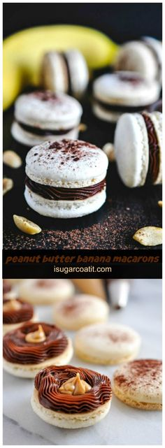 A throwback to my favourite childhood lunchbox sandwich, these #PeanutButter Banana #Macarons are perfectly peanutty cookies, stuffed with a silky banana ganache and dollop of fresh peanut butter.