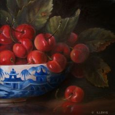 Red Cherries in Cantonware Bowl blue & white porcelain old world style oil painting, painting by artist JEANNE ILLENYE