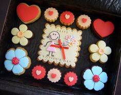 Mother's Day Cookies, Kinds Of Cookies, Iced Cookies, Sugar Cookies, Mothers Day Desserts, Mothers Day Cake, Happy Mothers, Fondant, Personalised Cakes