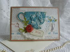 Tea for three card - Uses Tea for two paper and Tea Shoppe stamp set.