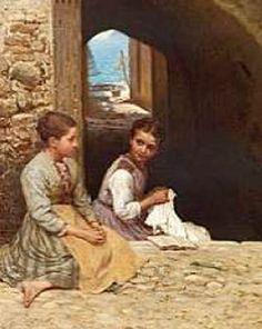 Two Young Italian Girls In A Courtyard, Hans Ole Brasen (1849-1930, Danish)